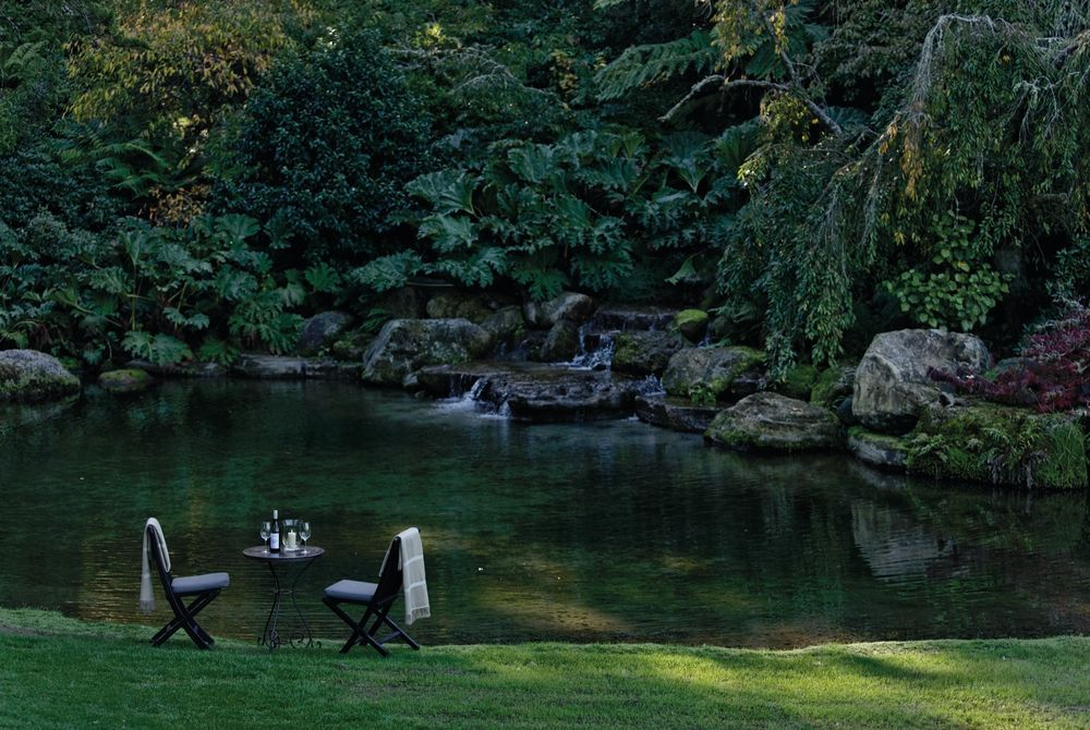 Huka Lodge water garden dining, New Zealand