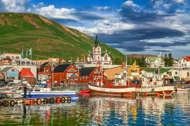 Husavik Harbour in North Iceland