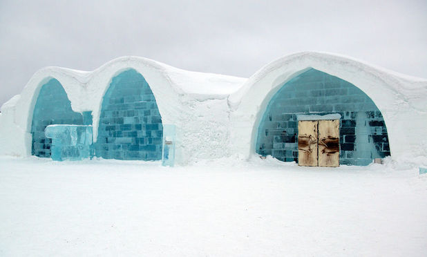 The exterior of the ICEHOTEL in Sweden