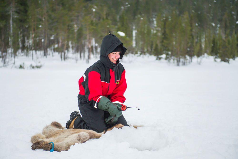 Ice Fishing, Hotel Harriniva, Finnish Lapland