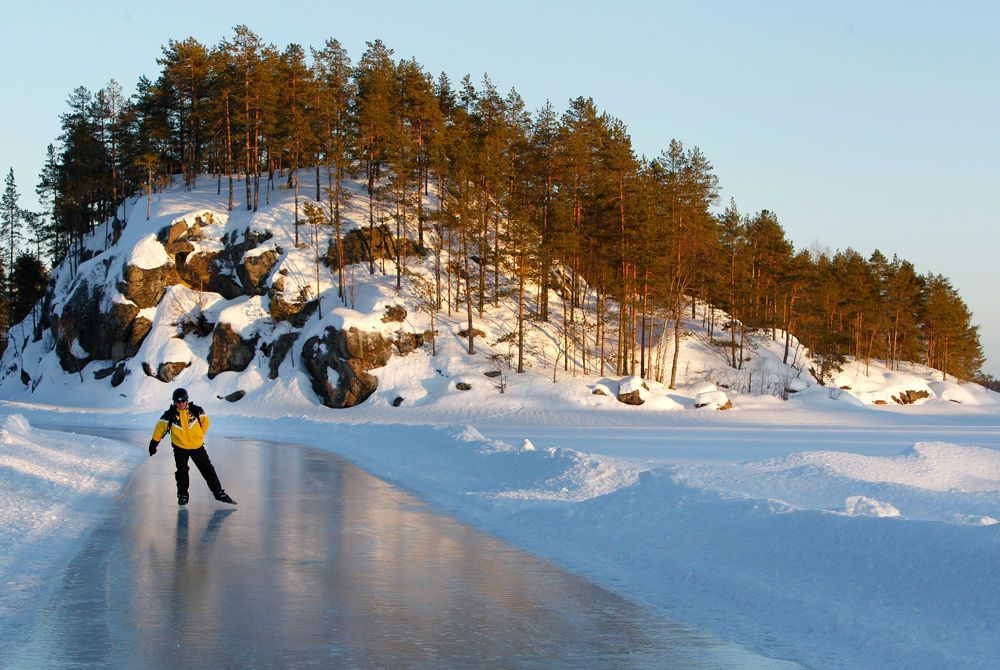 Ice skating on Lake Saimaa