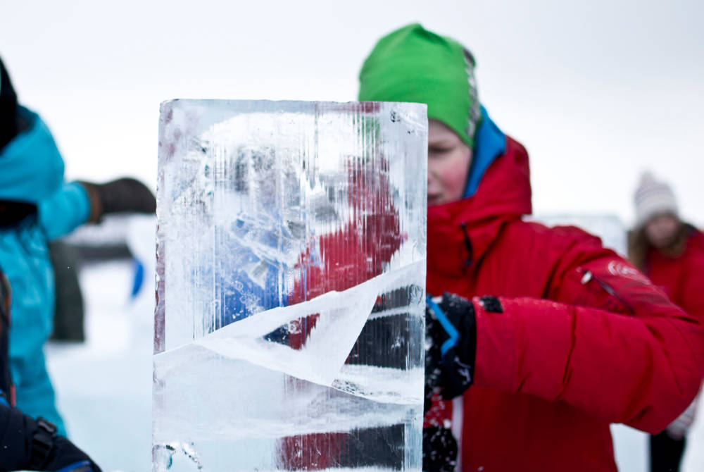 Ice sculpting, ICEHOTEL (Credit: Martin Smedsén)