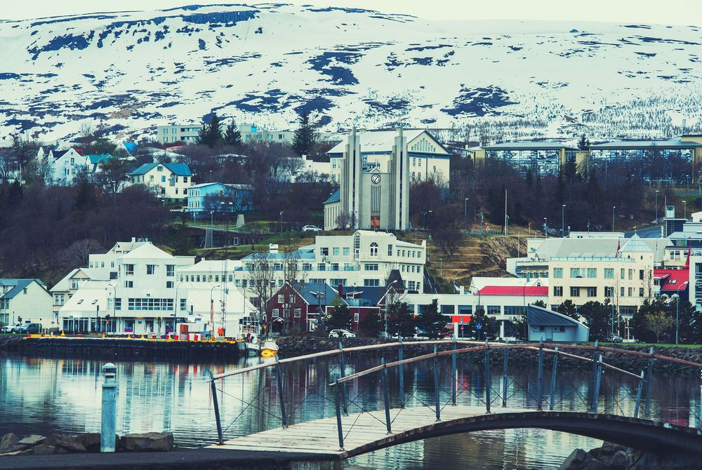 Iceland background Akureyri city bridge