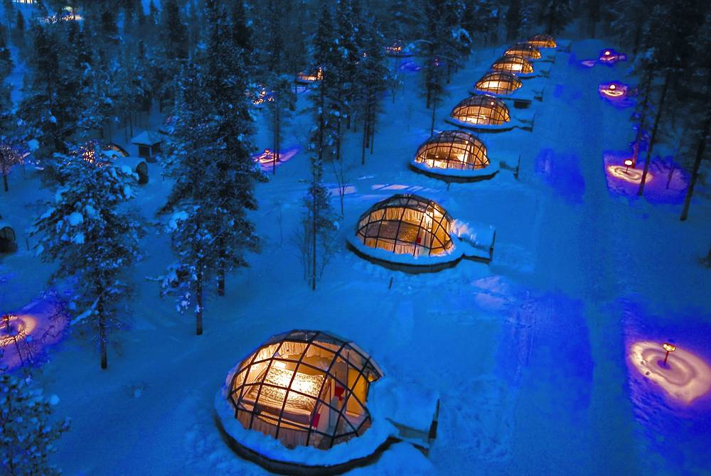 Igloos view from air, Kakslauttanen