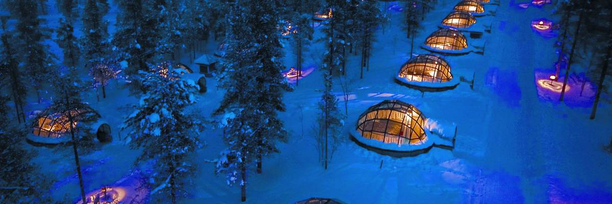 Igloos view from air, Kakslauttanen, Finnish Lapland
