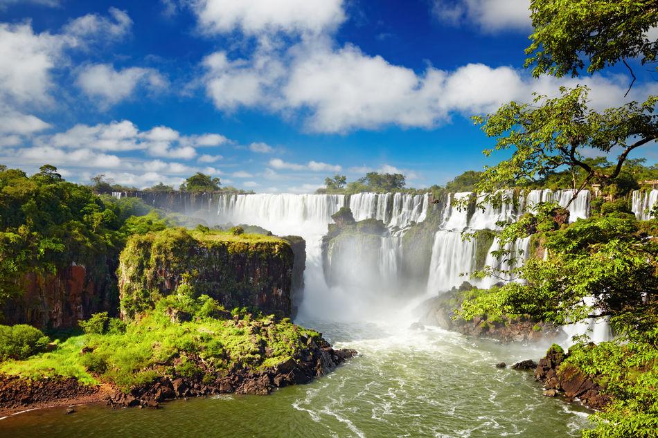 Drone shot of Iguazu Falls
