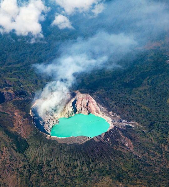 The bright-blue Ijen Crater, East Java, Indonesia