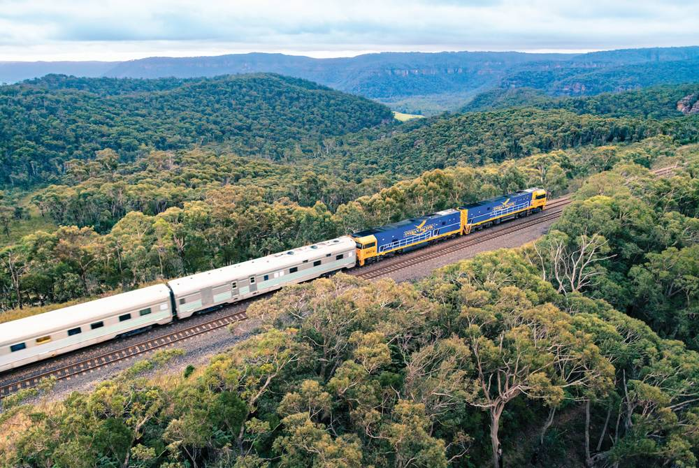 Indian Pacific passing through the Blue Mountains