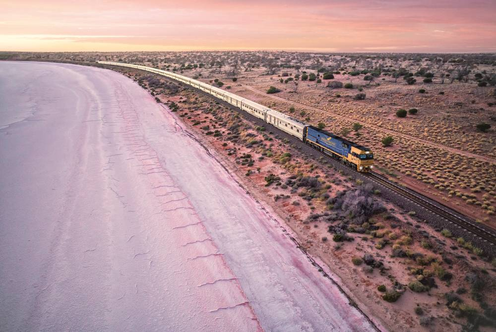 Indian Pacific passing by Lake Hart