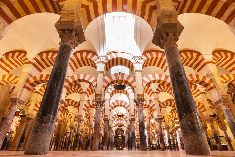 Inside the great mosque-cathedral of Mezquita, Cordoba