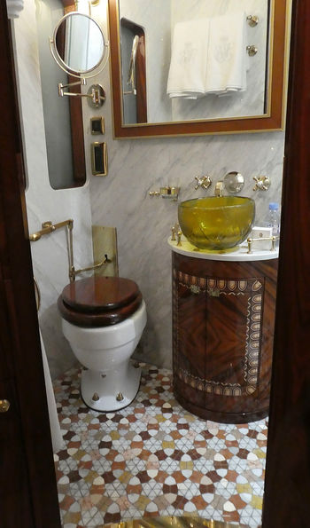 Murano glass sink in the Istanbul Grand Suite's private bathroom - Venice Simplon-Orient-Express