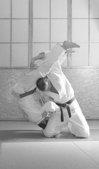 Judo training, black and white