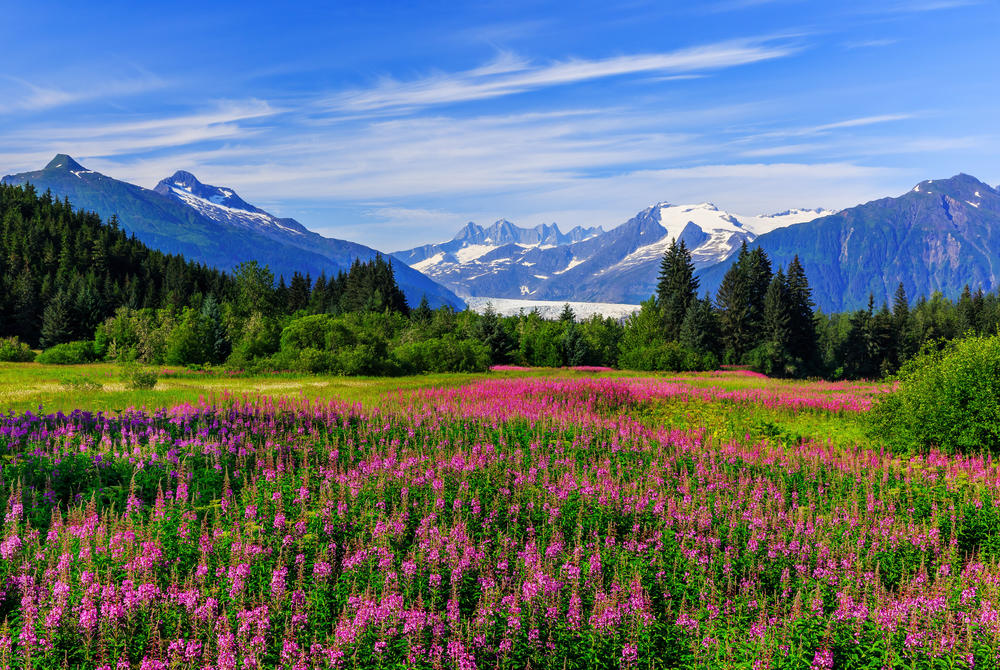 Mountains and lakes in Juneau Alaska