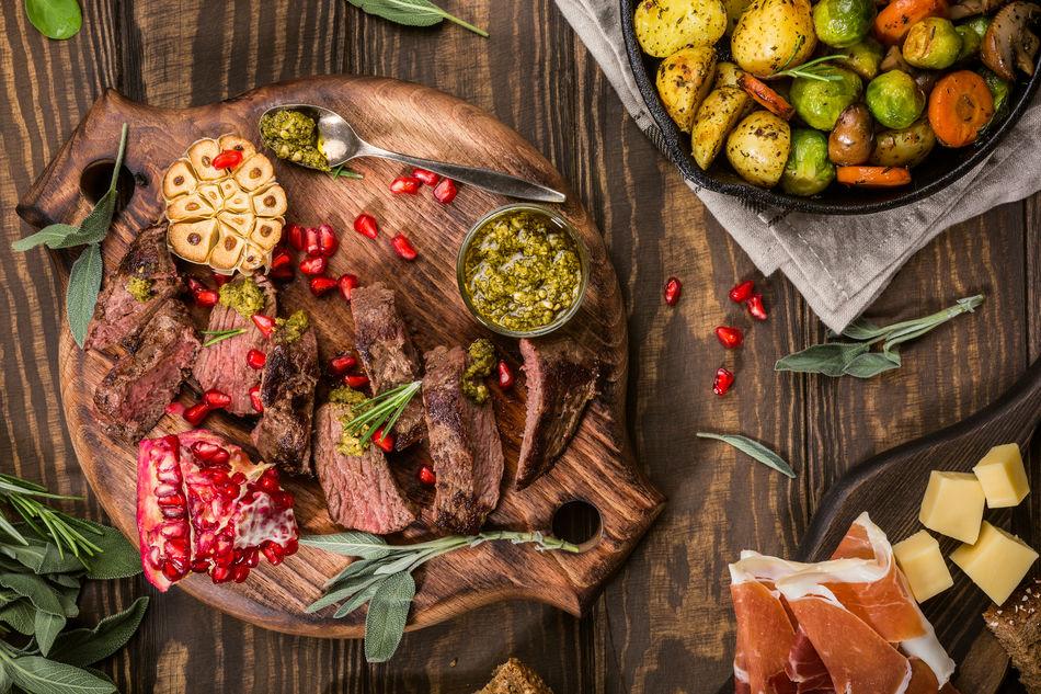 Dish of kangaroo meat and garnishes