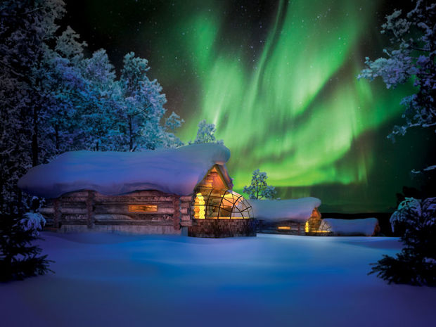 Kakslauttanen glass igloos in Finland Lapland