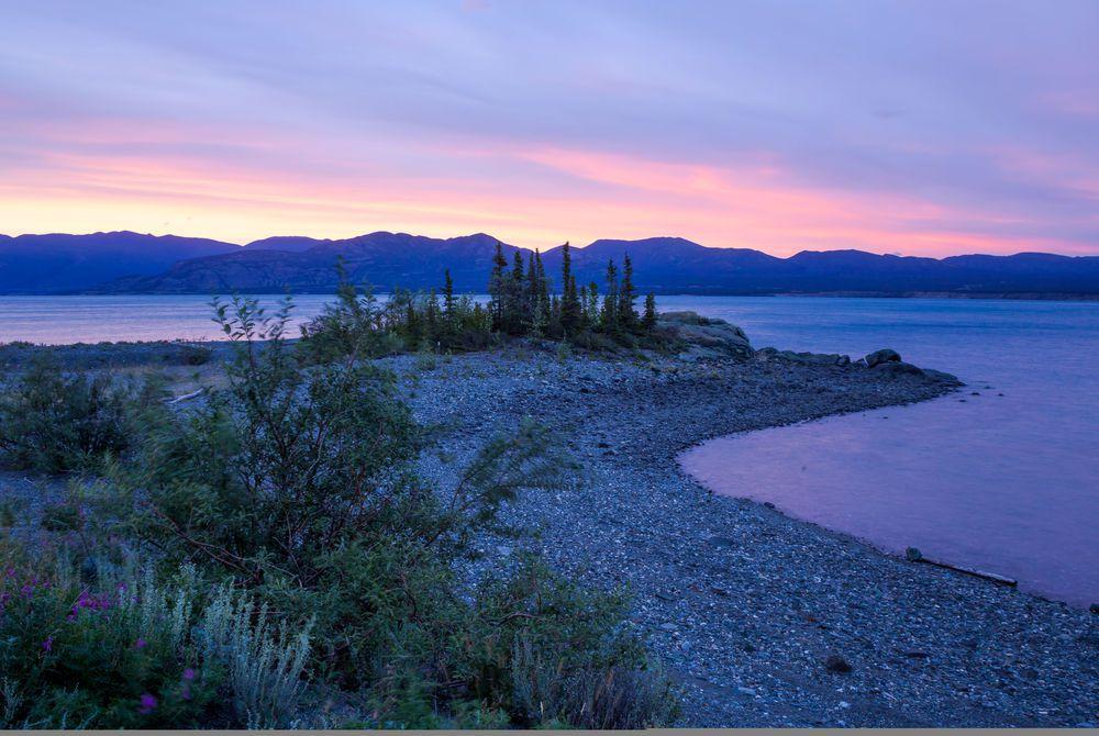 Kluane Lake at sunset, The Yukon, Canada