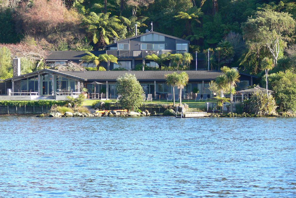 Koura Lodge from the water, New Zealand