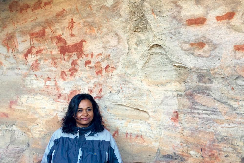 Krishna Ghosh at Twyfalfontein ancient rock art in Namibia
