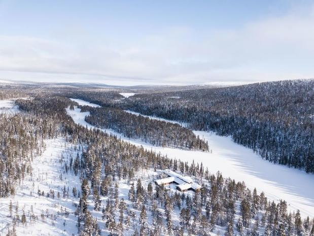 Aerial view over L7 Luxury Lodge, Finnish Lapland