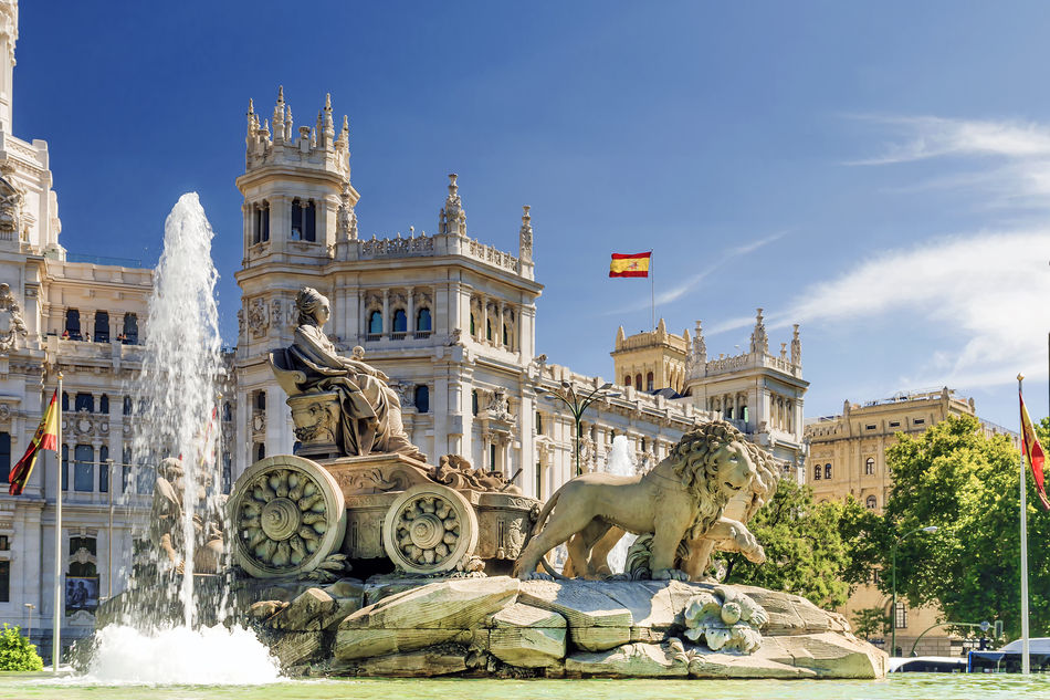 View of the statue of La Fuente de Cibeles in Madrid