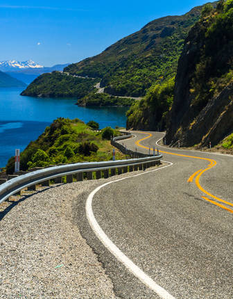 Lake Road and Mountains, Queenstown, South Island, New Zealand