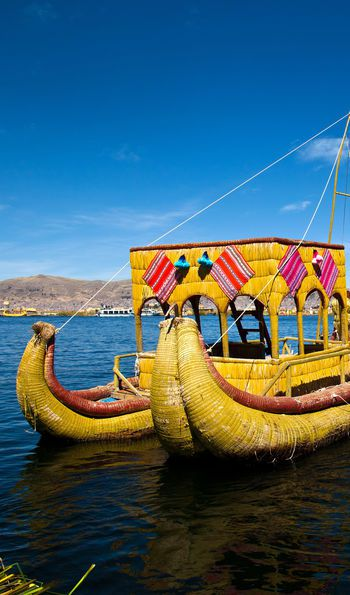 Traditional reed boat, Lake Titicaca, Peru