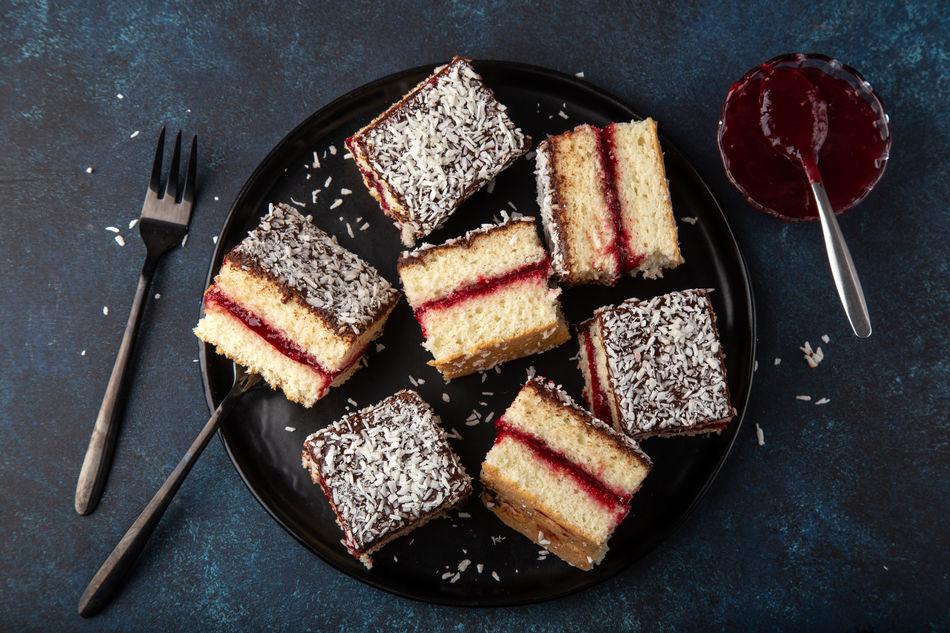 Plate of lamington cakes