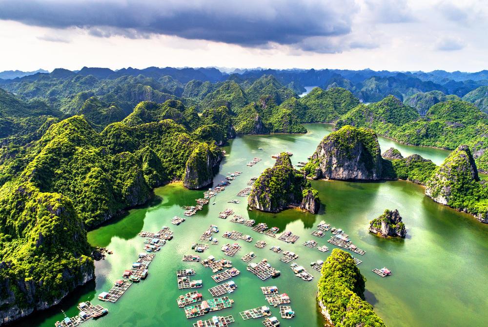 Aerial view of Lan Ha Bay limestone peaks