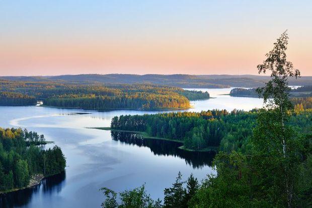 Serene view over Saimaa lake in Finland
