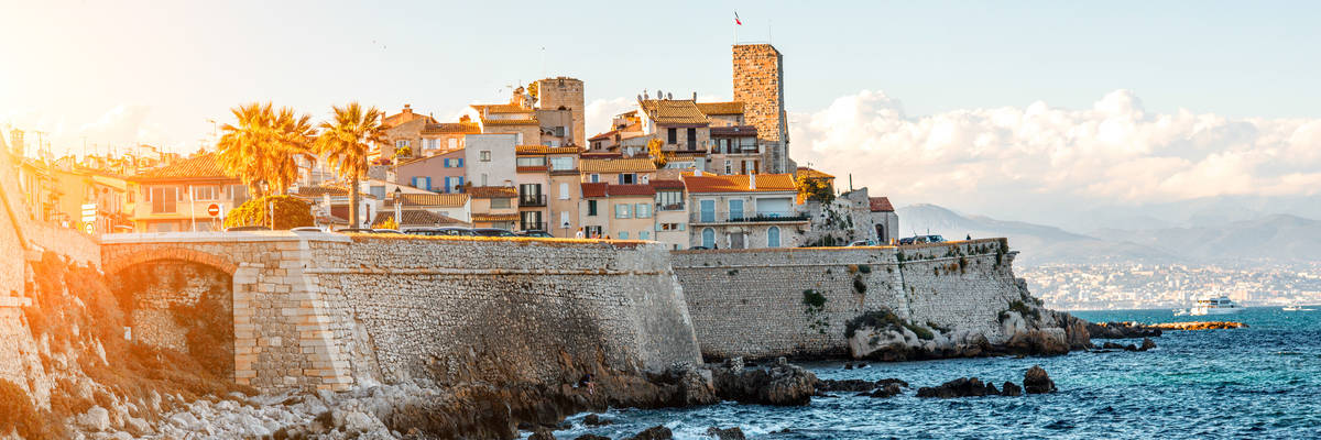 Landscape view on the old coastal village and fortification of Antibes