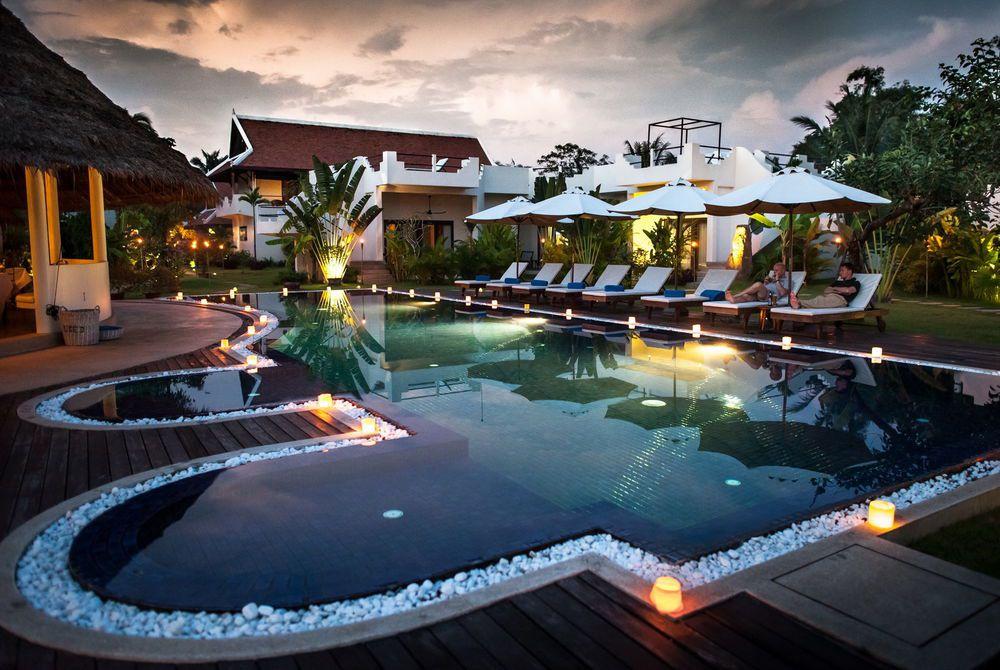 Lap pool evening, Navutu, Siem Reap, Cambodia