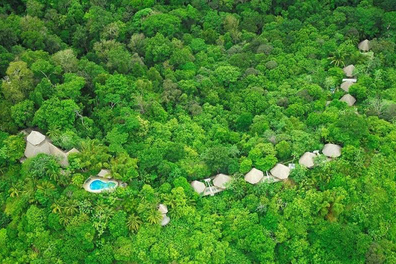 Aerial shot of Lapa Rios Ecolodge