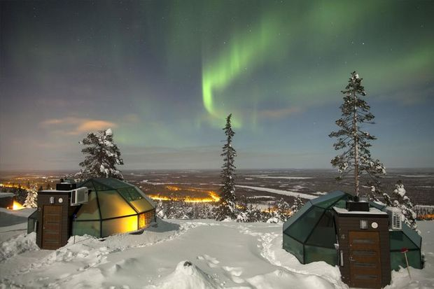 levin iglut glass igloo for Northern lights holidays in Finland's Lapland