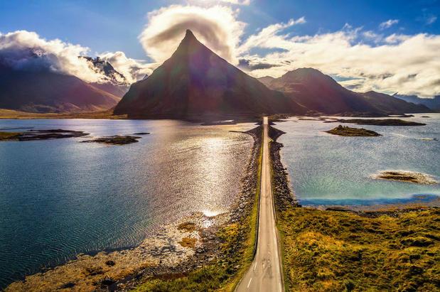 Long, empty road in the Lofoten Islands, Norway