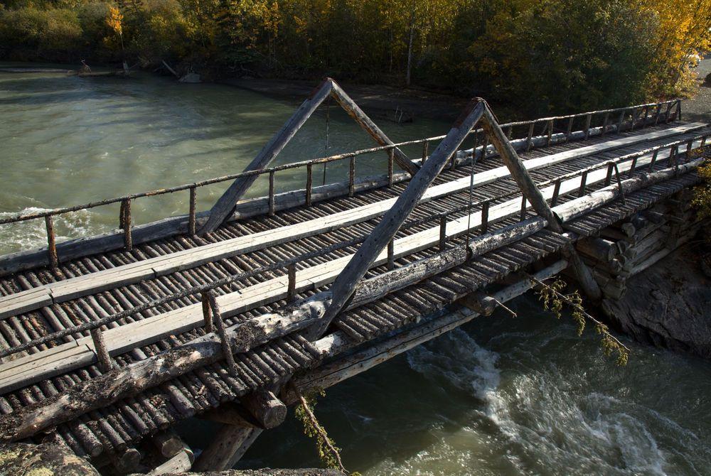 Log bridge near Haines Junction, The Yukon, Canada
