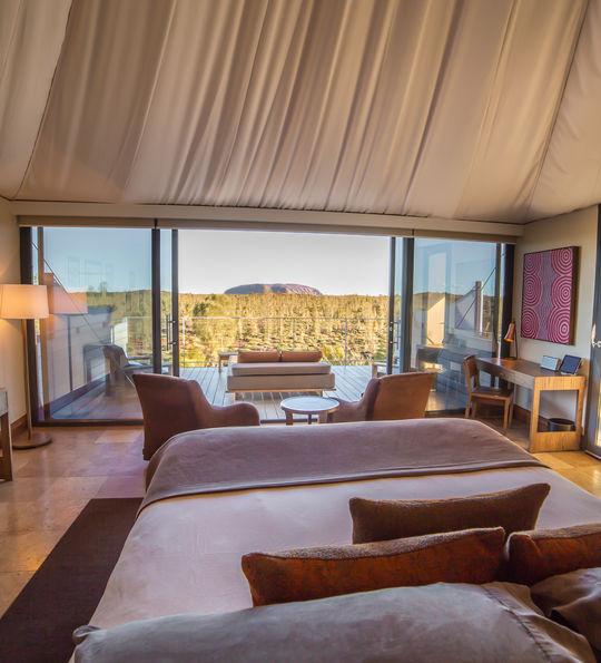 View of Uluru from luxury tent, Longitude 131°