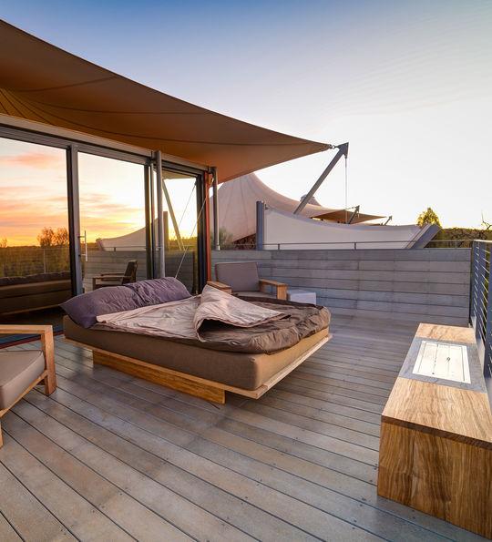 Outside bed at sunrise, Longitude 131°
