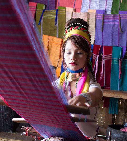 Lotus silk weaving on Inle Lake
