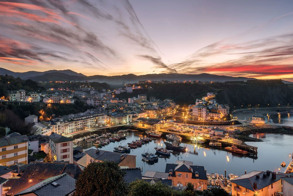 Luarca, Asturias, Spain. Fishing and pleasure port with boats in the harbour
