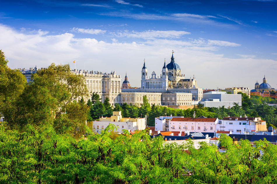 View of Madrid's Santa Maria la Real de La Almudena Cathedral