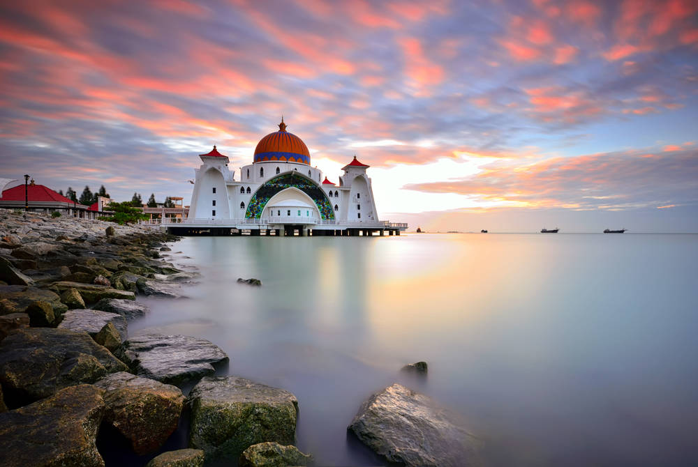 The Malacca Straits Mosque at sunset