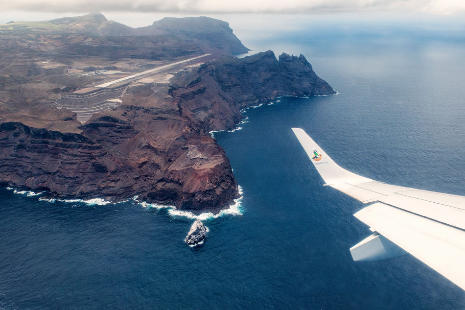 Flight arrival into St Helena – amazing island views
