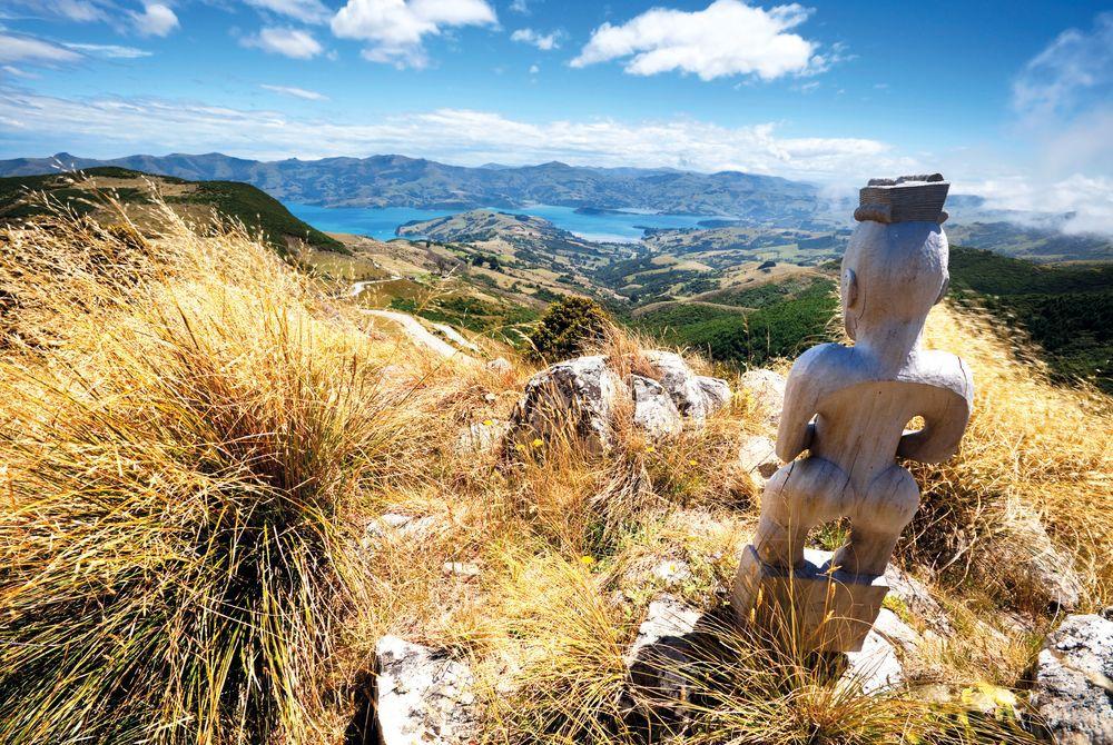 Maori Statue, Akaroa, South Island, New Zealand