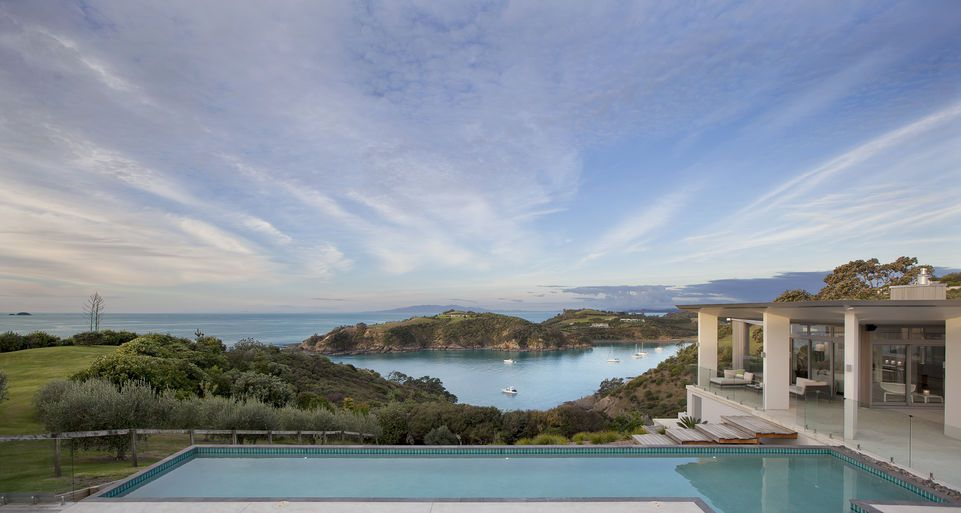 Marino Ridge Waiheke pool and water view, New Zealand