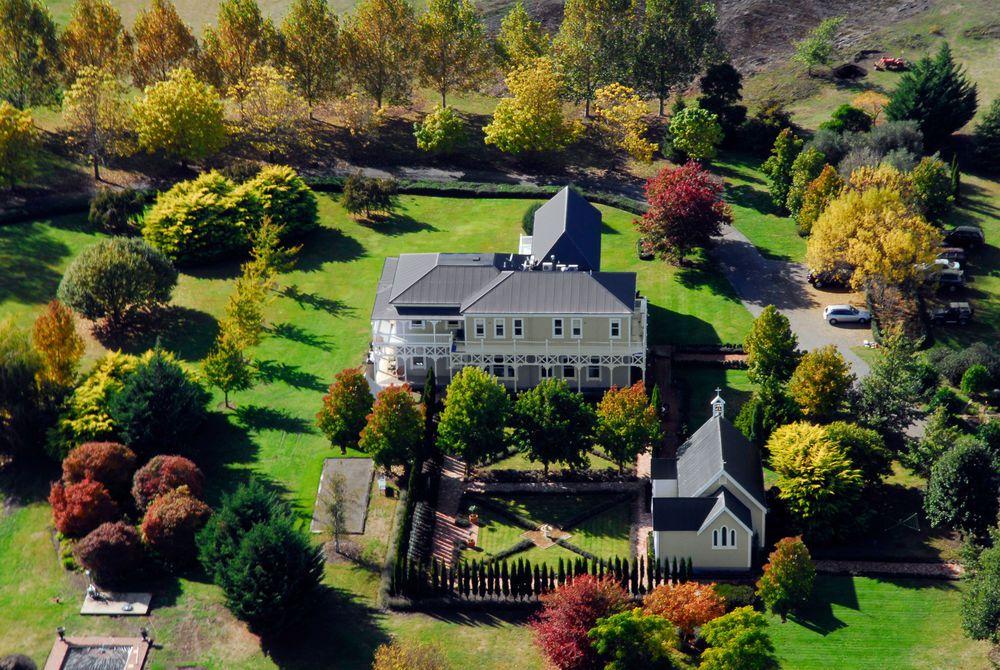 Marlborough Lodge autumn aerial view, New Zealand