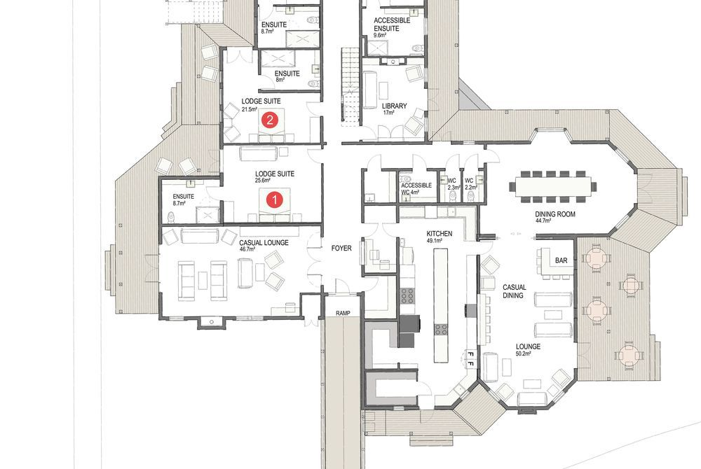 Marlborough Lodge floor plan, New Zealand
