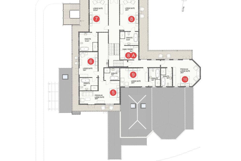Marlborough Lodge floor plan, second floor, New Zealand