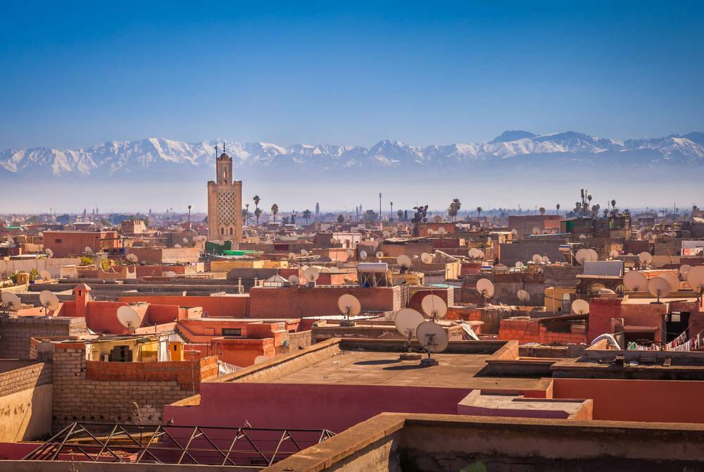 Marrakech with Atlas Mountains backdrop