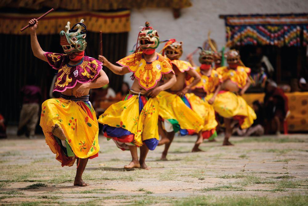 Masked Dancers, Punakha, Bhutan