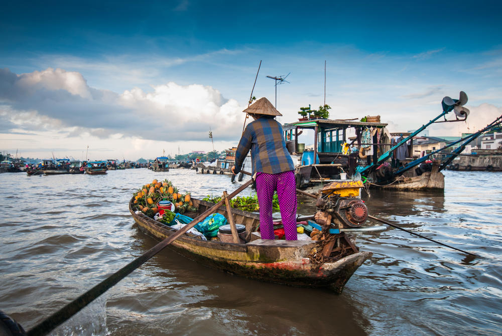 Floating markets on the Mekong River in Vietnam